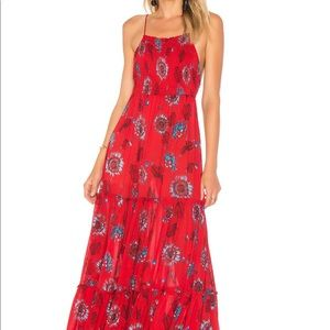 Free People, Harden Party, Red Floral Maxi Dress. Size Small.  EUC!